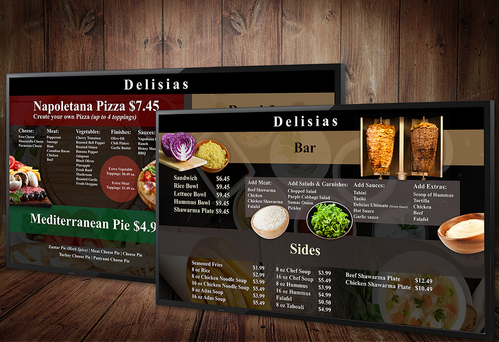 delisias restaurant digital menu designs